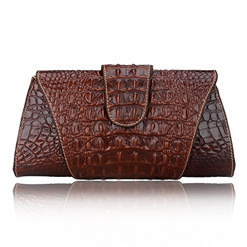 Pijushi Croco Embossed Leather Clutch Bag Cross Body Handbag 8062