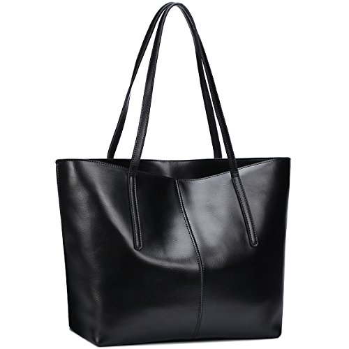 S-ZONE Women's Fashion Handbag Genuine Leather Shoulder Bag Large Tote Bags