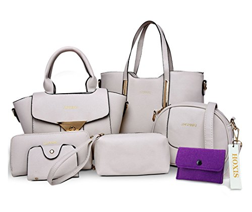 Hoxis Womens Multi-purpose 6 Pieces Purse Faux Leather Shoulder Handbags Clutches Wallet Set of 6