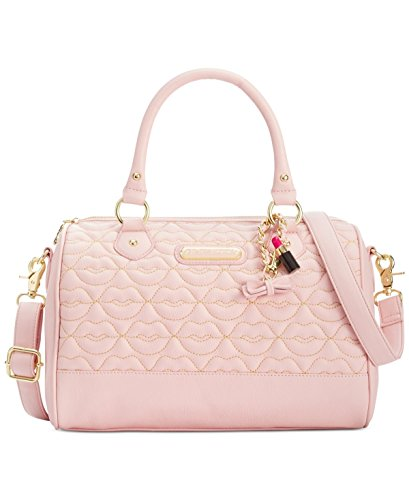 Betsey Johnson Blush Quilted Lips Satchel Blush