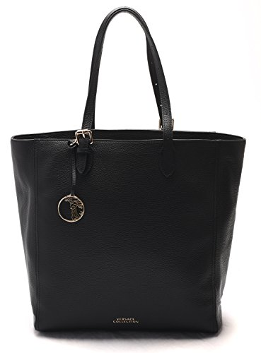 Versace Collection Women Pebbled Leather Shopping Handbag Satchel Black