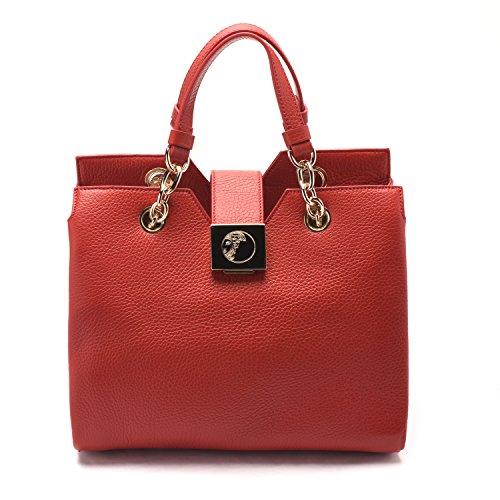 Versace Collections Women Pebbled Leather Top Handle Handbag Satchel Red