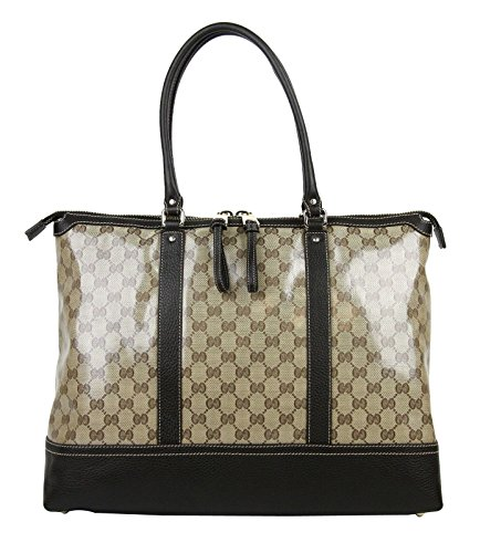 Gucci Women's Brown Crystal GG Tote Large Business Shoulder Bag 327793 9903