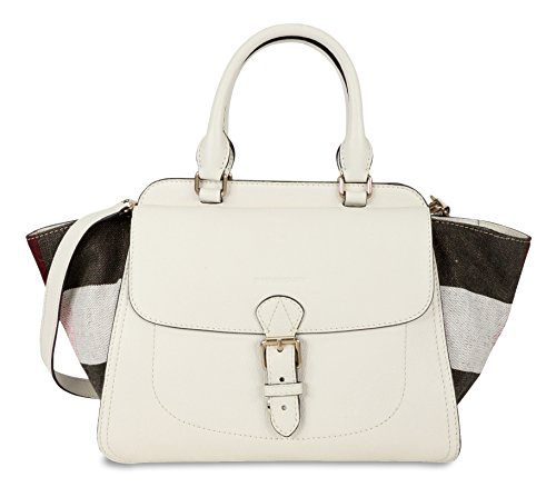 Burberry Grainy Leather Canvas Check Winged Tote – White