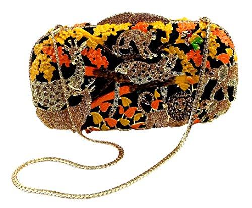 """Jungle Fever-Sunset"" Wild Animal Clutch/Evening Purse, Inlaid Jewel Studded, 10″ chain, Hard Case."