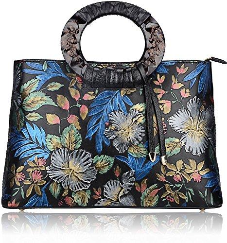 Pijushi Embossed Cowhide Leather Tote Style Ladies Convertible Top Handle Bag Cross Body Messenger Handbag 6016