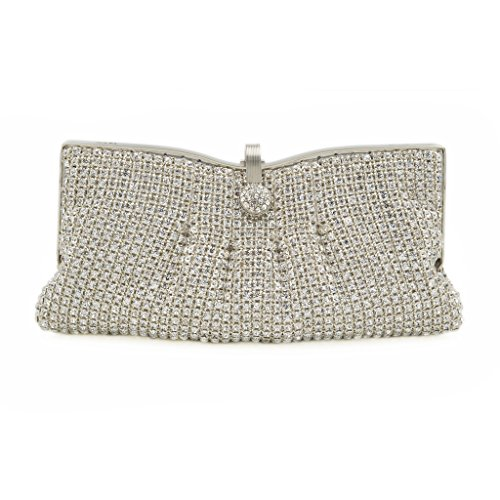ILILAC Women's Folds Style Clutch Purse Rhinestone Evening Bags