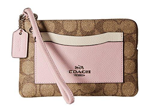 COACH Women's Corner Zip SV/Khaki/Petal Clutch