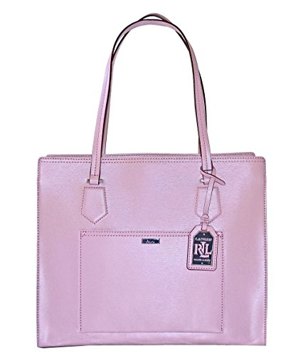 LAUREN Ralph Lauren Leather Lowell Satchel Handbag Purse Tea Rose
