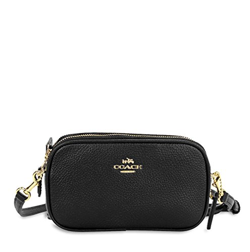 Coach Pebbled Leather Crossbody Pouch – Lt Gold/Blk
