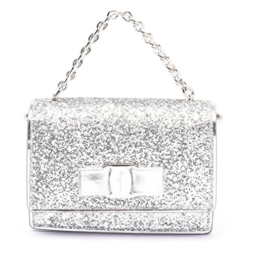 Salvatore Ferragamo Women Ginny Glitter Mini Handbag Crossbody Clutch Silver