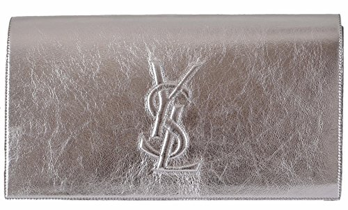 Saint Laurent YSL Women's Silver Leather Large Belle de Jour Clutch Handbag