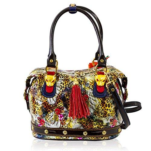 Marino Orlandi Italian Designer JUNGLE Patent Leather Purse Bag w/Leopard Heads