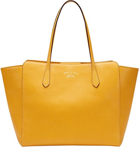 Gucci Yellow Leather Swing Medium Tote Satchel Bag