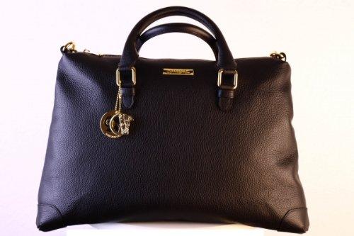 Versace Collections Women Pebbled Leather Top Handle Shoulder Handbag Satchel Black