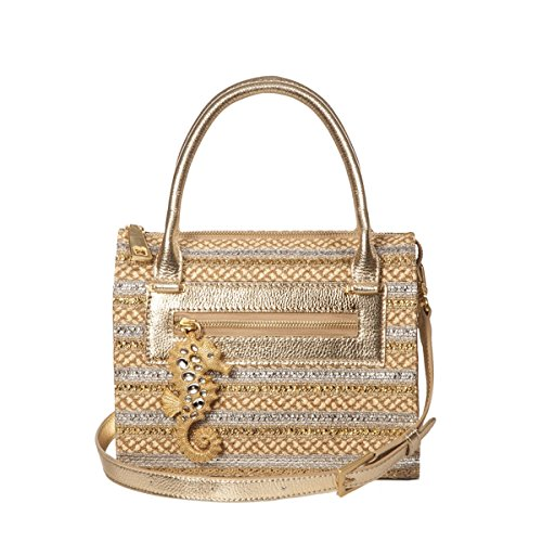 Eric Javits Women's Rio Top Handle Satchel in Peanut/Silver/Gold