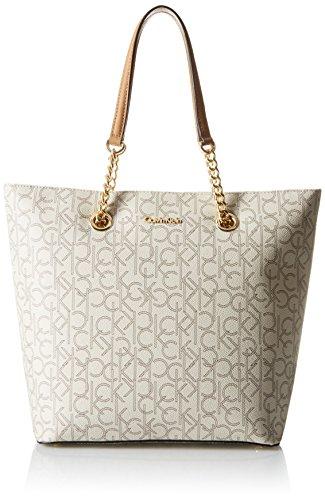 Calvin Klein Monogram Tote Bag, Almond/Khaki/Cashew Saffiano, One Size