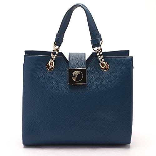 Versace Collections Women Pebbled Leather Top Handle Handbag Satchel Blue