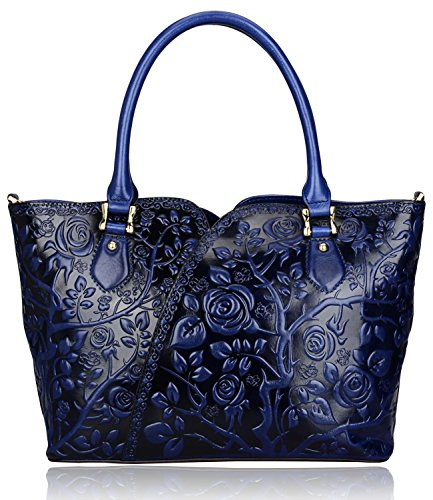 Pijushi Designer Inspired Embossed Rose Ladies Handmade Leather Tote Shoulder Bags Satchel Handbags 22328
