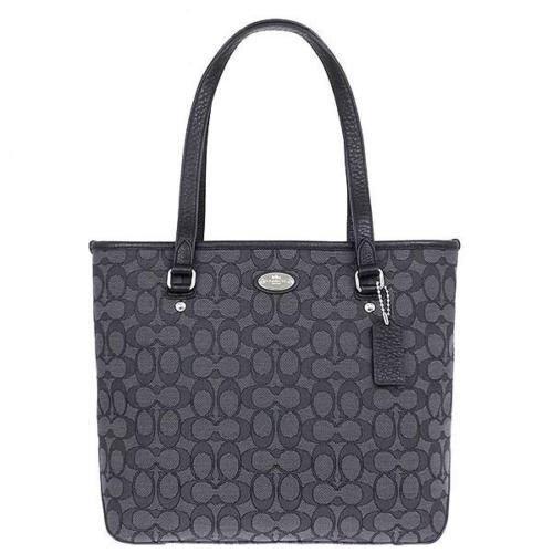Coach Outline Signature Zip Top Tote Shoulder Bag F55364 Black Smoke/ Black