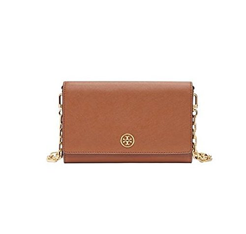 Tory Burch Robinson Saffiano Chain Wallet, Black