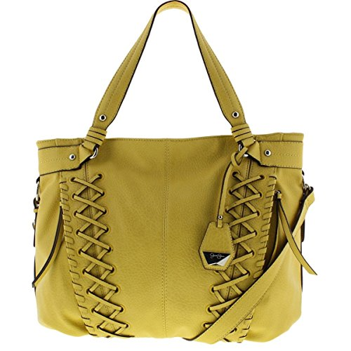 Jessica Simpson Womens Tyson Faux Leather Woven Tote Handbag