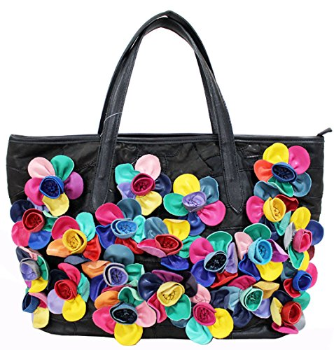 Heshe® Women s New Fashion Soft Cow Leather Multi-color Flower Stitching  Splicing Tote Bag 8098b66bdbec8