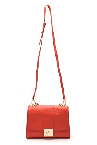 Versace Collections Women Pebbled Leather Crossbody Clutch Handbag Red