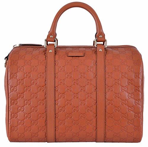 Gucci Women's Brick Orange GG Guccissima Boston Bag Satchel