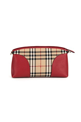 Burberry Horseferry Check Small Chichester Convertible Clutch Red