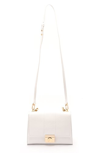 Versace Collections Women Pebbled Leather Crossbody Clutch Handbag White