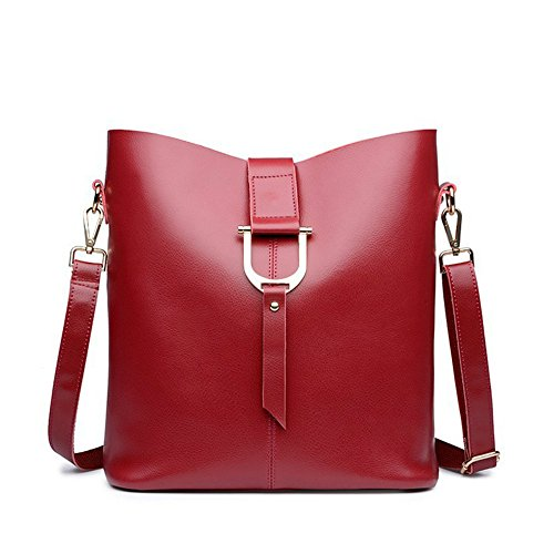 Genuine Leather Women Shoulder Bag Fashion First Layer Leather Bucket Bags Lady Messenger Bag