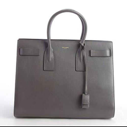 YSL Saint Laurent Medium Sac De Jour Tote Bag in Grey Leather