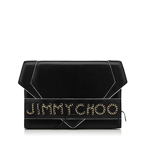 Jimmy Choo Designer SIERRA Black Glossy Leather Oversized Clutch Made in Italy