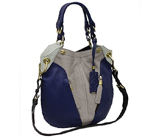 Oryany Victoria Multi Dove Blue Leather Victoria Colorblock Large Shoulder Bag
