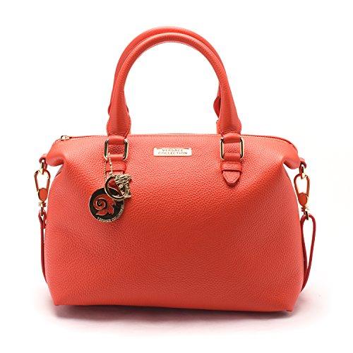 Versace Collections Women Pebbled Leather Top Handle Shoulder Handbag Satchel Red