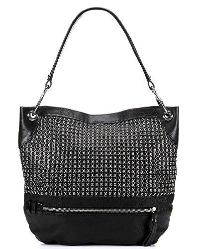 Oryany Faye Large Weave Black Leather Hobo Shoulder Bag