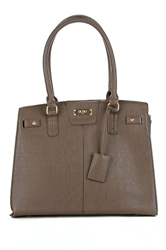 BCBG Paris Chic Story Lock Tote in Taupe