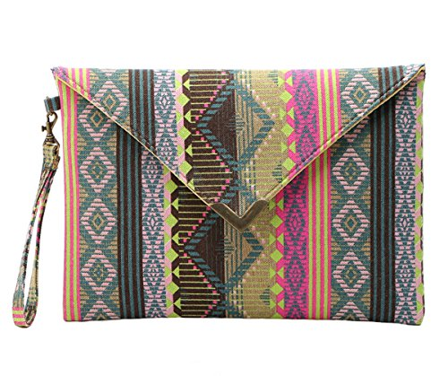 Tina Women's Vintage Printed Flap Buckle Canvas Envelope Bag Wristlet Clutch