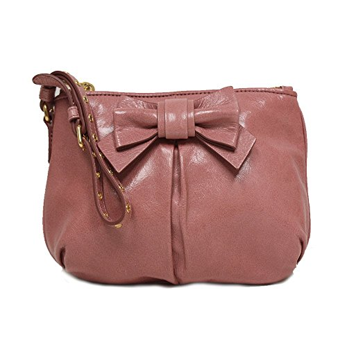 Miu Miu Prada Vitello Light Pink Leather Bow Wristlet Evening Clutch Bag 5N1681