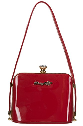 Banned Apparel Dancing Days Dark Blooms Patent Red Handbag Purse