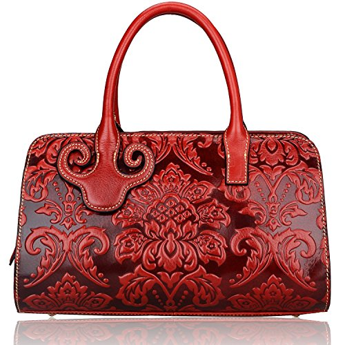 Pijushi Embossed Flower Leather Handbag Genuine Leather Top-handle Bags 22122