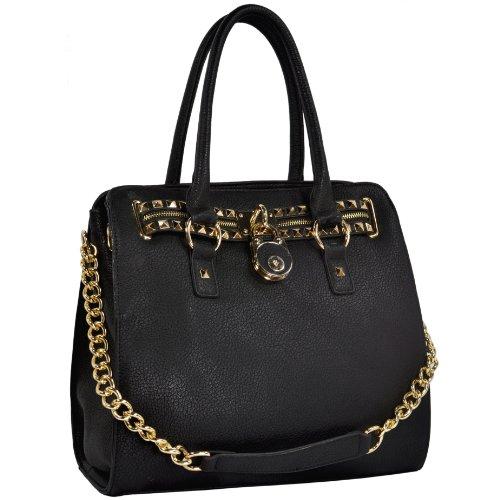MG Collection's HALEY Gold Studded Handbag Purse