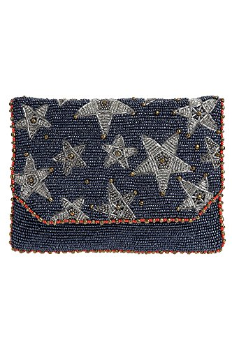 Mary Frances Liberty Mini Stars Denim Blue Silver Beaded Bag