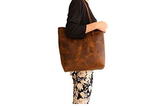 Soft Vintage Casual Style Brown Crazy-Horse Leather Tote Bag Handbag Shoulder Bag