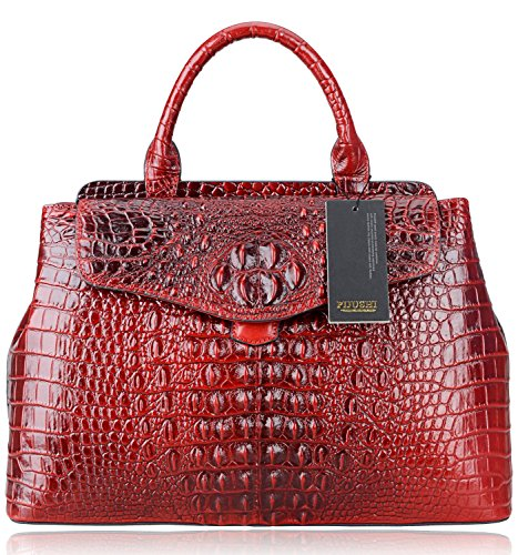PIJUSHI Classic Women Embossed Crocodile Top Handle Handbag 6075