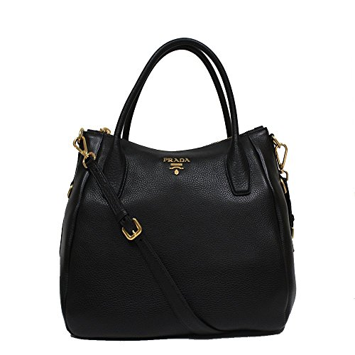 Prada Daino Sacca 2 Manici Black Leather Hobo Shoulder Bag Handbag Purse BR4992
