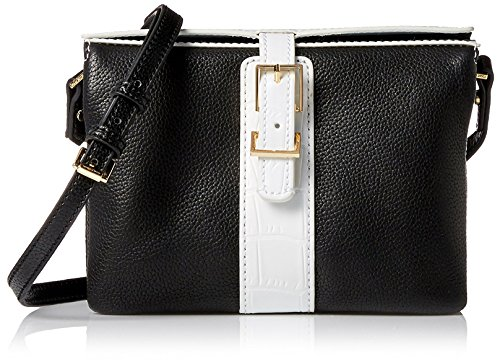 Isaac Mizrahi Women's Kamela Cross Body, Black/White Croco
