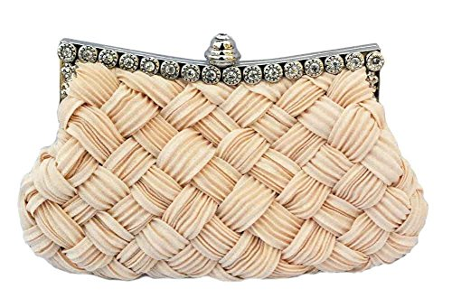 Century Star Braided Pleated Glitter Rhinestone Clutch Wedding Party Evening Bag Purse Beige