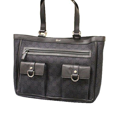 Gucci Black Denim Abbey Tote Handbag Purse 268639 1160
